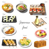Japanese cuisine set. Collection of food dishes Royalty Free Stock Photos