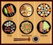 Japanese Cuisine Set Dishes Flat Style. Yakitori ramen sushi unagi okonomiyaki tonkatsu, dish traditional, fish dinner, delicacy and chopsticks illustration Royalty Free Stock Image