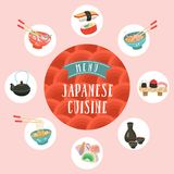 Japanese cuisine. Traditional Japanese dish. Vector illustration. Japanese cuisine. A set of traditional Japanese dishes. Vector illustration in cartoon style Royalty Free Stock Image