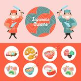 Japanese cuisine. Traditional Japanese dish. Chefs Japanese. Vec. Japanese cuisine. A set of traditional Japanese dishes. Japanese chef with a large kitchen Stock Images