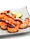 Japanese Cuisine - Skewered Shrimps Royalty Free Stock Photography