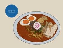 Japanese cuisine soup ramen sketch vector. Japanese cuisine soup ramen. Vector Hand drawn illustration Stock Photography