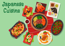 Japanese cuisine spicy dinner dishes icon Stock Images