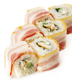 Japanese Cuisine - Sushi. With Chicken and Cucumber Wrapped in Bacon Royalty Free Stock Images