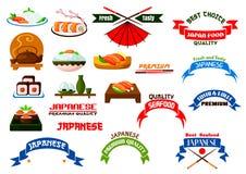Japanese cuisine sushi icons set Royalty Free Stock Photos