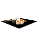 Japanese cuisine: sushi on a plate with reflection Royalty Free Stock Photo