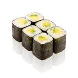 Japanese cuisine. Sushi roll with avocado. On white background Stock Photos