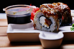 Japanese cuisine sushi rolls macro Stock Photos