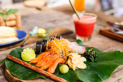 Japanese cuisine sushi and sashimi Royalty Free Stock Images