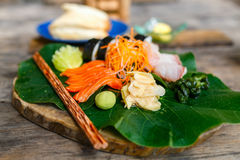 Japanese cuisine sushi and sashimi Stock Photos