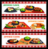 Japanese cuisine sushi and seafood menu banner set. Japanese cuisine sushi and asian seafood dishes banner set. Assortment of sushi with rice, salmon, tuna Stock Photography