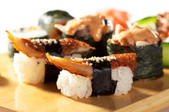 Japanese Cuisine - Sushi Set Royalty Free Stock Images