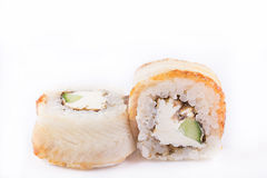 Japanese Cuisine, Sushi Set: roll with eel, cream cheese, cucumber, teriyaki sauce, sesame on a white background. Royalty Free Stock Images