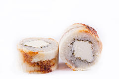 Japanese Cuisine, Sushi Set: roll with eel, cream cheese on a white background. Stock Photography