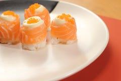 Japanese  cuisine sushi set with salmon Royalty Free Stock Photos