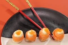 Japanese  cuisine sushi set with salmon Stock Photos