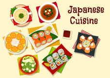 Japanese cuisine sushi and soups for dinner menu Stock Photography