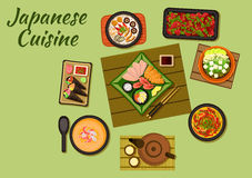 Japanese cuisine with sushi and soups Royalty Free Stock Image