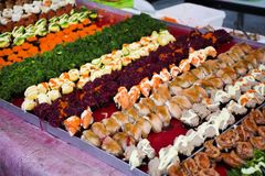Japanese cuisine Sushi thai style many variety topping for sale stock images
