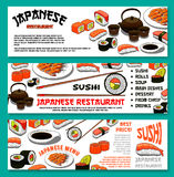 Japanese cuisine or sushi vector menu banners set Royalty Free Stock Photo