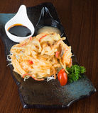 Japanese cuisine. tempura. Deep fried mix vegetable on the backg Royalty Free Stock Photos
