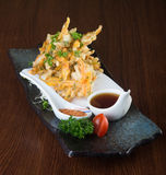 Japanese cuisine. tempura. Deep fried mix vegetable on the backg Royalty Free Stock Photo