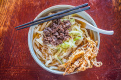 Japanese cuisine, Tempura over Udon noodles Stock Photo