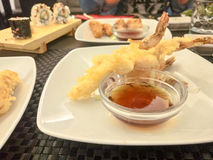 Japanese Cuisine - Tempura Shrimps (Deep Fried Shrimps) with sauce. Vvv royalty free stock images