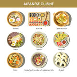 Japanese cuisine traditional dishes vector flat icons set Royalty Free Stock Photography