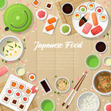Japanese Cuisine Traditional Food with Sushi and Wasabi Stock Photos