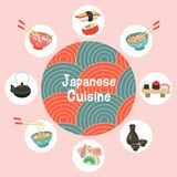 Japanese cuisine. Traditional Japanese dish. Vector illustration. Japanese cuisine. A set of traditional Japanese dishes. Vector illustration in cartoon style Royalty Free Stock Photo