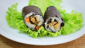 Japanese Rice Maki Sushi Roll Stuff with Tofu and Carrot Stock Photography