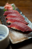 Japanese Cuisine Tuna Sushi and sake Royalty Free Stock Photo