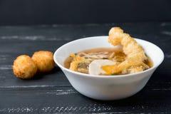 Japanese cuisine, Udon noodles with shrimp tempura Stock Photos