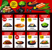 Japanese cuisine vector menu price cards template Stock Image