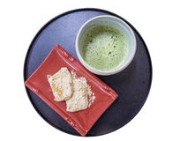 Japanese cuisine, Warabimochi dessert and green tea Stock Photos