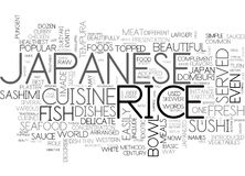 Japanese Cuisine Word Cloud Concept. Japanese Cuisine Text Background Word Cloud Concept Royalty Free Stock Image