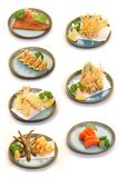Japanese Cuisines. A compilation of Japanese cuisines such as unagi, gyoza, tempura, sashimi and etc stock photo