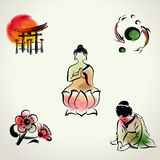 Japanese cultural icon with watercolor style Royalty Free Stock Photography