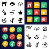 Japanese Culture All in One Icons Black & White Color Flat Design Freehand Set. This image is a vector illustration and can be scaled to any size without Royalty Free Stock Image