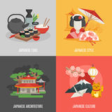 Japanese Culture Flat Icon Set Stock Photos