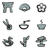 Japanese Culture Icons Freehand 2 Color. This image is a illustration and can be scaled to any size without loss of resolution Stock Images