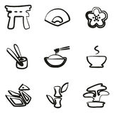 Japanese Culture Icons Freehand. This image is a illustration and can be scaled to any size without loss of resolution Royalty Free Stock Images