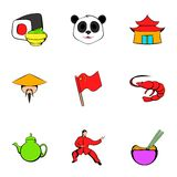 Japanese culture icons set, cartoon style Stock Photo