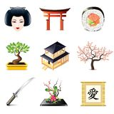 Japanese culture icons vector set Stock Photo