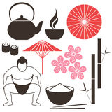 Japanese culture. Isolated objects on white background. Vector illustration (EPS 10 Royalty Free Stock Photography