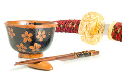 Japanese culture. Katana, Chopsticks and bowl Royalty Free Stock Photography