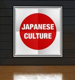 Japanese culture poster with flag in art gallery Royalty Free Stock Image