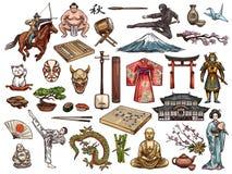 Japanese culture, religion vector symbols. Japanese religion, culture and traditions vector isolated icons. Sushi and kimono, tea ceremony and samurai, drum vector illustration