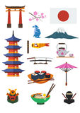 Japanese Culture Set Royalty Free Stock Photography